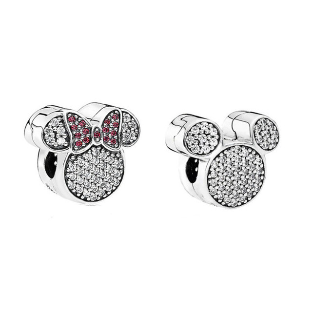S925 Silver DIY Jewelry Minnie & Mickey Clips Charms Stoppers fit Pandora Bracelets & Bangles