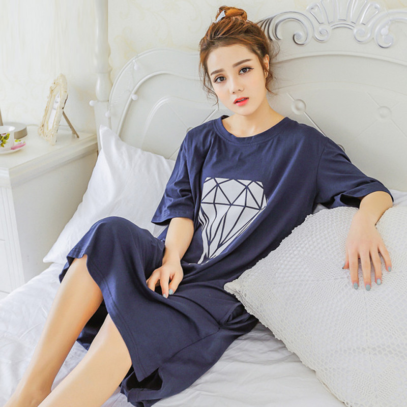 Yidanna 2018 women   nightgown   cotton   sleepshirt   cute sleep clothing short sleeved sleepwear female pyjamas girls nightwear summer