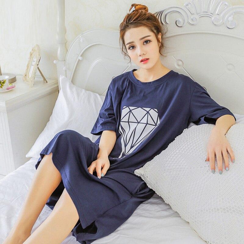 Yidanna 2018 women nightgown cotton sleepshirt cute sleep clothing short sleeved sleepwear female pyjamas girls nightwear summer