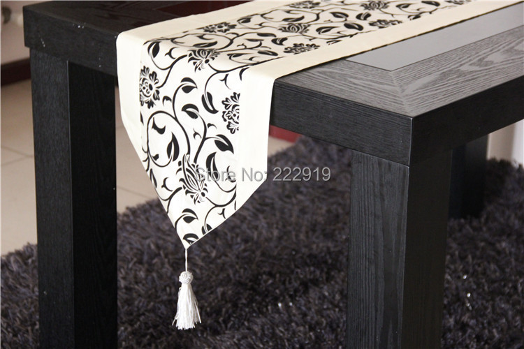 Buy Free Shipping 03glass Table Runner Orange Black Damask Table  Clothcoffee Table Runnerfoot Massage Bed Runner Free Shipping From