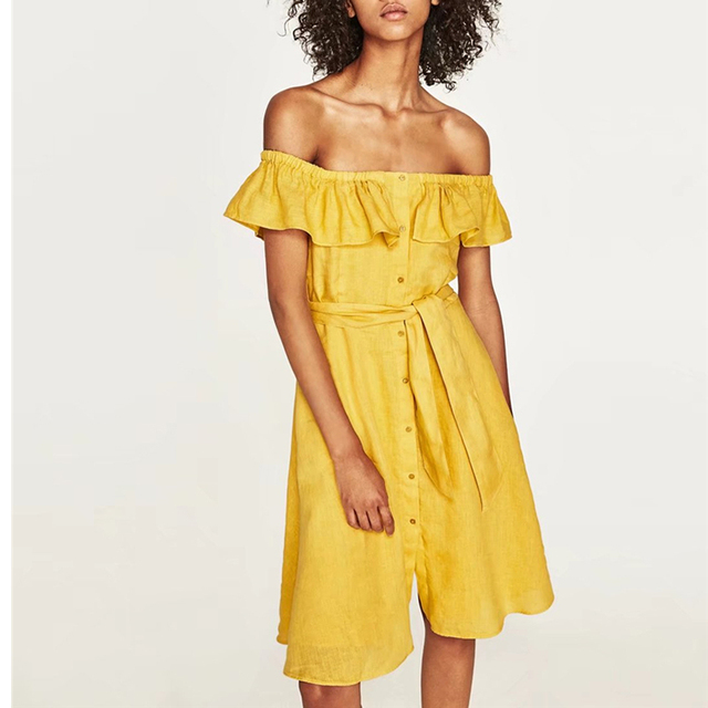 73b3fe4aedce Hot Sale Women Slash Neck Off Shoulder Dress Slim A-Line Yellow Cotton  Ruffles Strap Party Vestidos AB788-0629
