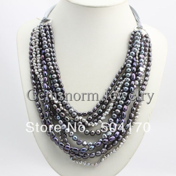Natural Grey Freshwater Pearl Necklace Luxury 10Strands Pearl Jewelry Wholesale Price Free Shipping FP054