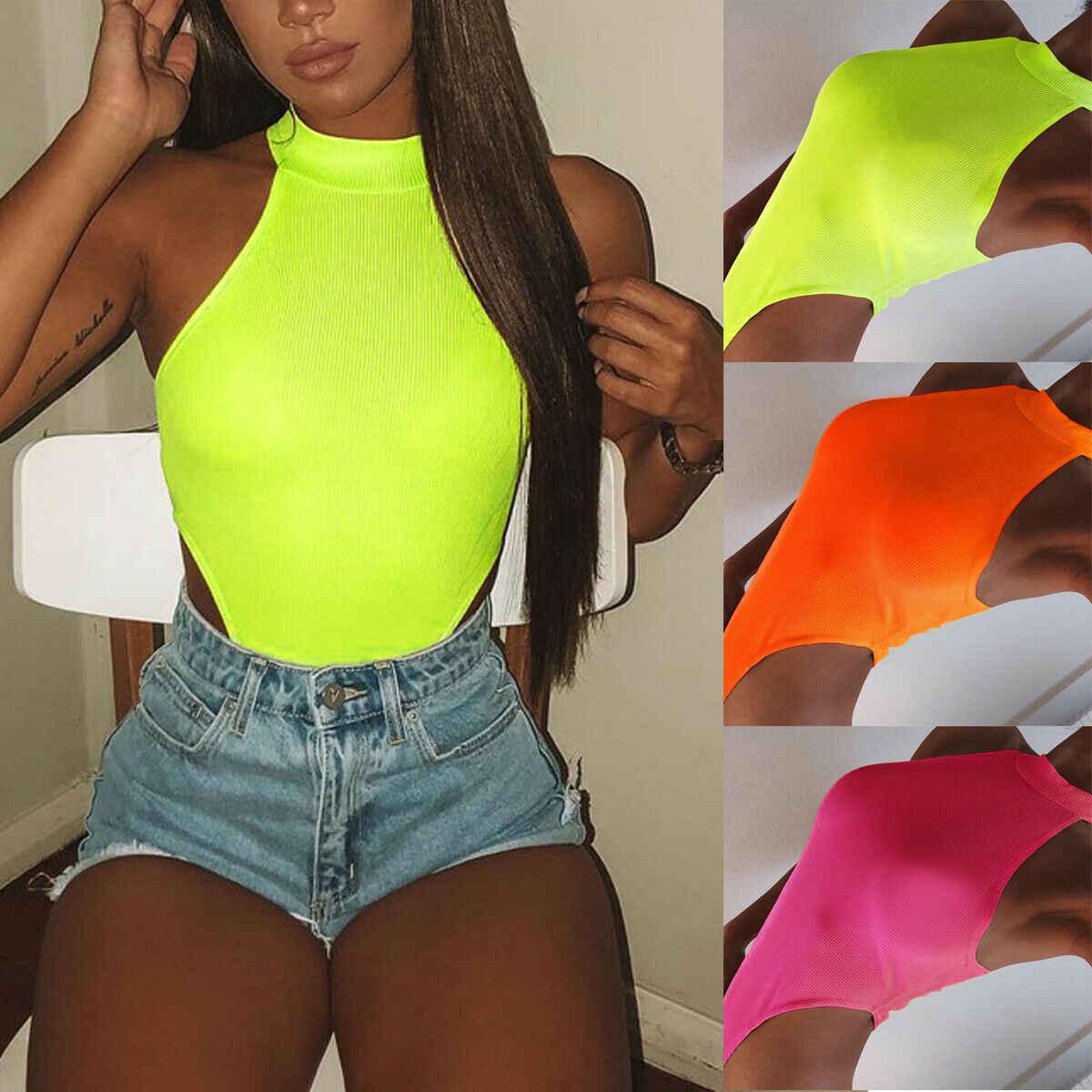 2019 חדש סגנון מוצק ללא שרוולים אופנה נשים סקיני Romper אפוד חולצות סקסי בגד גוף מועדון מסיבת Playsuits