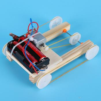 Children DIY Assembling Electric Pulley Four-Wheel Drive Car Model Education Toy j084b diy small four wheel drive car interesting diy making for adults and children sell at a loss