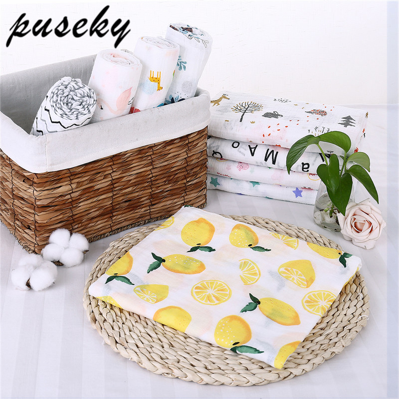 Puseky baby blanket cotton baby muslin swaddle blanket quality better than Aden Anais Baby bath towel cotton Blanket Infant Wrap removable liner baby infant swaddle blanket 100