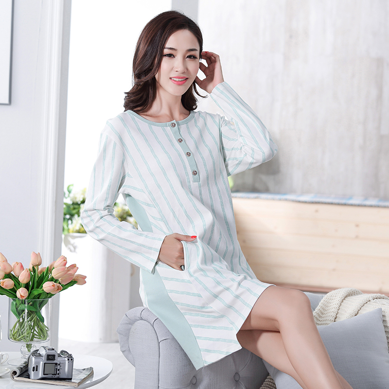 New 100% Cotton Women's   Nightgown   Lounge Nightdress Femme Striped Sleepwear Casual Girls Nightwear Loose   Nightgowns     Sleepshirts