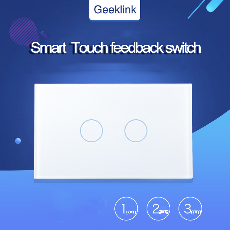 Original Geeklink US Type Touch Feedback Switch 1 2 3Gang WIFI Remote Control by RemoteBox 3S