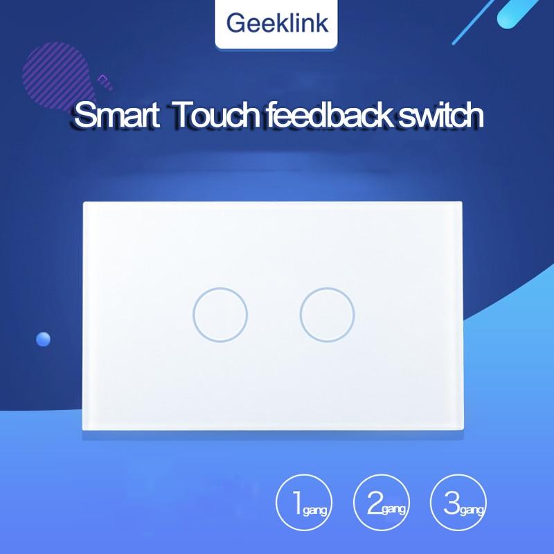 D'origine Geeklink NOUS Type Tactile Rétroaction Commutateur 1/2/3 Gang WIFI Télécommande par RemoteBox 3 S ou Penseur Maison Intelligente Installation Automatique
