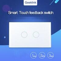 Original geeklink eua tipo toque interruptor de feedback 1/2/3 gang wifi controle remoto por remotebox 3 s ou pensador casa inteligente automatização