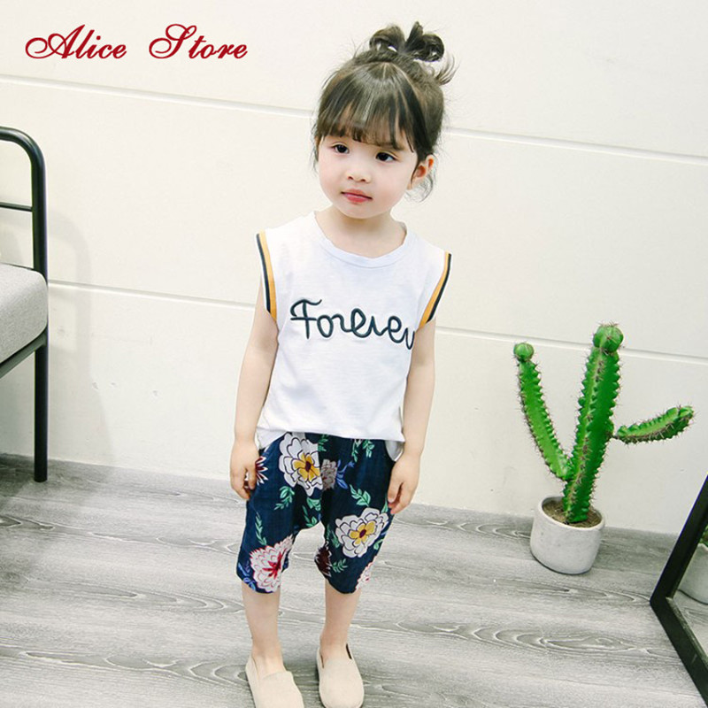 2018 baby girls summer casual clothing sets childrens cotton and line letter tops +print pants 2 suits vest clothes for kids