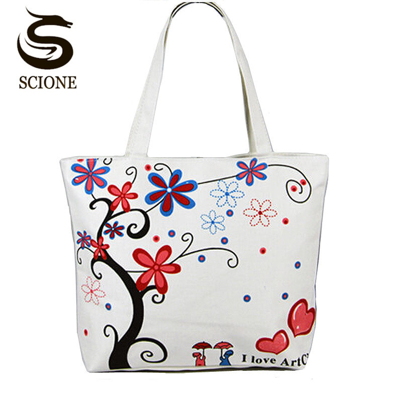 Beach Bag Casual Canvas Shoulder Bag for Women Travel Handbags Flower Printing Female Ladies Tote Large Capacity Shopping Bags owl and floral print canvas bag women flowers handbags large capacity female shoulder bags single shopping bag casual beach bags