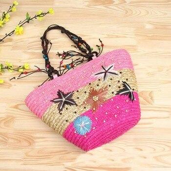 REREKAXI New Straw Bag Fashion Women Shoulder Bags Large Capacity Beach Bag Wheat Pole Weave Handbag Starfish Ladies Tote 5