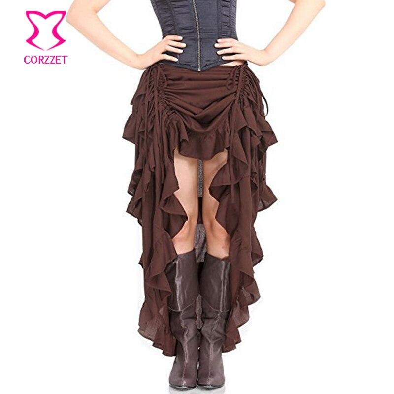 Brown Adjustable Ruffle Asymmetric Vintage Gothic Skirt Plus Size Steampunk Corset Skirt Long Victorian Skirts For Women S-6XL