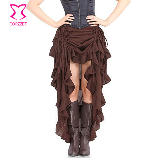 1837f99d42 Brown Adjustable Ruffle Asymmetric Vintage Gothic Skirt Plus Size Steampunk  Corset Skirt Long Victorian Skirts For