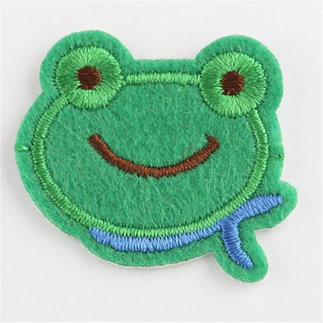 Girls clothes baby Badge embroidery patch frog head deal with it T shirt women iron on patches for clothing cute stickers Badge