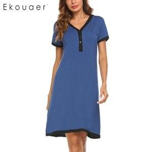 Image 1 - Ekouaer sukienka wieczorowa koszule nocne bielizna nocna macierzyństwo karmienie piersią koszula nocna domowa koszulka z krótkim rękawem damska dekolt nocna koszula nocna