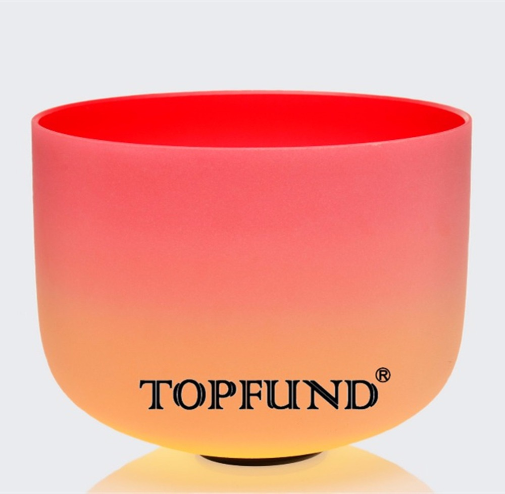 "TOPFUND Chakra Rainbow Berwarna Frosted Quartz Crystal Singing Bowl 10 "", A B C D E F G Catatan, cincin O dan Palu"