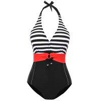 L1807 Senhoras Swimsuit de Uma peça Botão de Cor Bloco Listrado Acolchoado Bikini Set Push Up Swimwear Mulheres que Banham Terno L-4XL