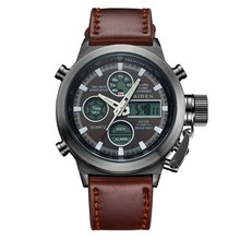 Multi-function Double-Featured Leather Strap Men's Waterproof Sports Military Watch