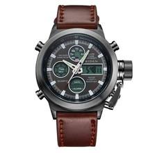 Moda de Múltiples funciones de Doble Ofrecido Correa de Cuero Hombres Reloj Militar Relojes de Natación Impermeable Del Reloj Del Deporte de Montaña Al Aire Libre