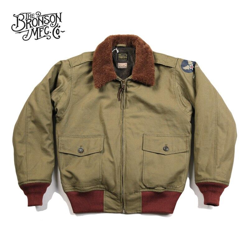 Бронсон ВВС США B-10 полета куртка 1943 модель промежуточных Летающий пальто Винтаж B10 Для Мужчин's Курточка бомбер