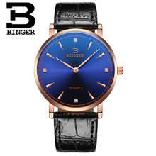 Binger Men Crystal Watches Brand Luxury 30M Waterproof Ultra Thin Clock Male Leather Casual Quartz Watch Men Sports Wrist Watch