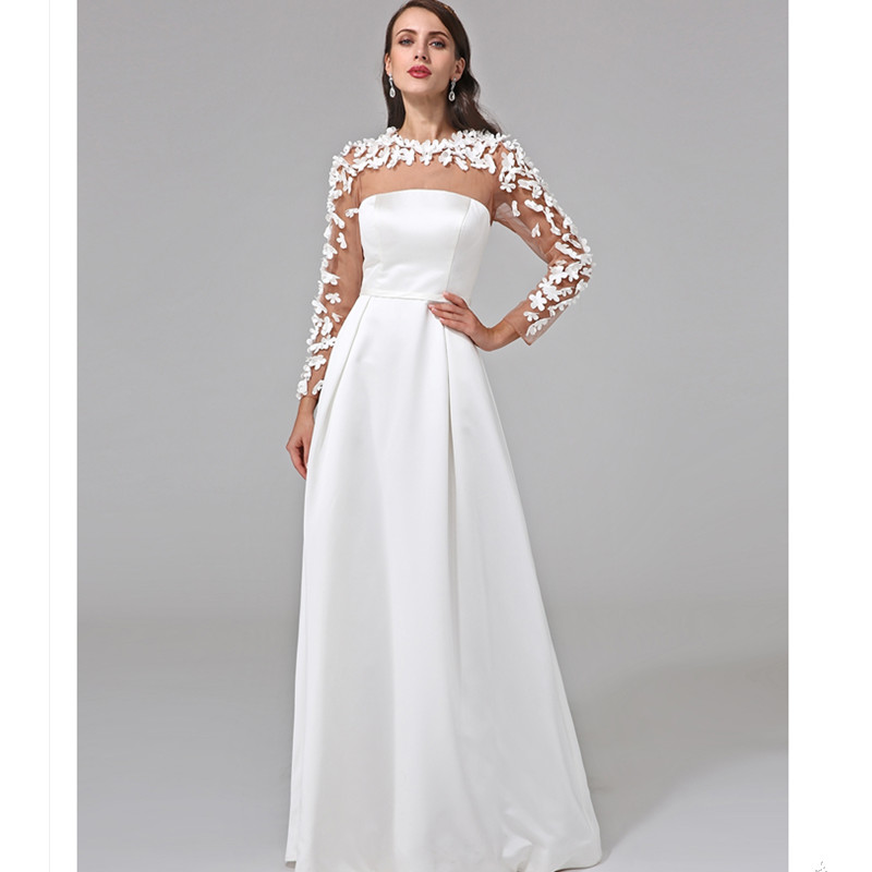 LAN TING BRIDE Illusion A Line Wedding Dress Long Sleeves Charmeuse Bridal  Gown with Sashes Ribbon Button Flower-in Wedding Dresses from Weddings    Events ... aeaeb2e1e700