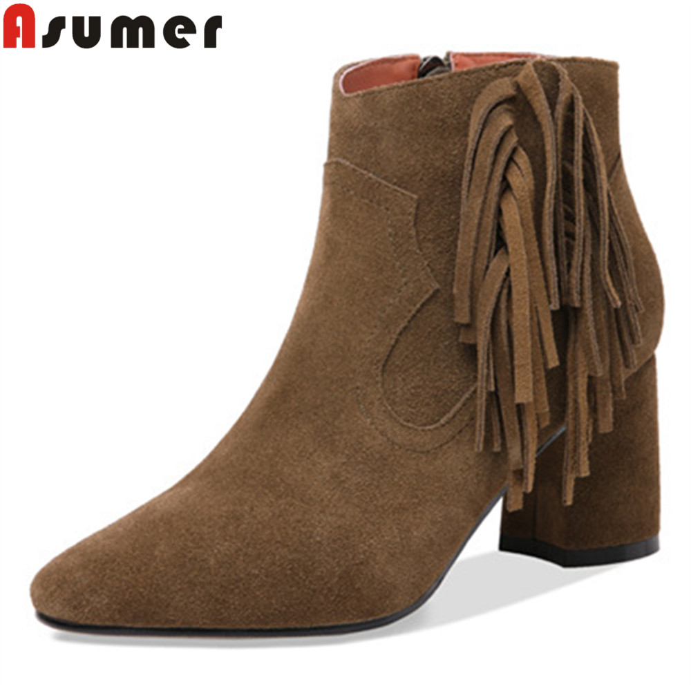 ASUMER 2018 autumn winter shoes woman round toe zip ladies boots fringe square heel high heels suede leather ankle boots women купить в Москве 2019