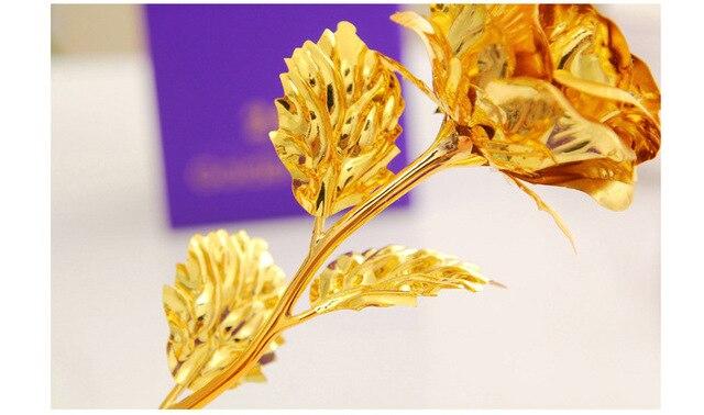Best Gift For Girlfriend Golden Rose Wedding Decoration Golden Flower Valentine's Day Gift Gold Rose Gold Flower with Box -15 2