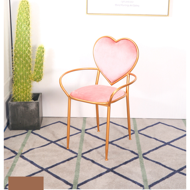 Beau 2018 Limited Modern Chair Cadeiras Sillones Heart Shaped Chair With Armrest  Iron Dresser Simple Flannel