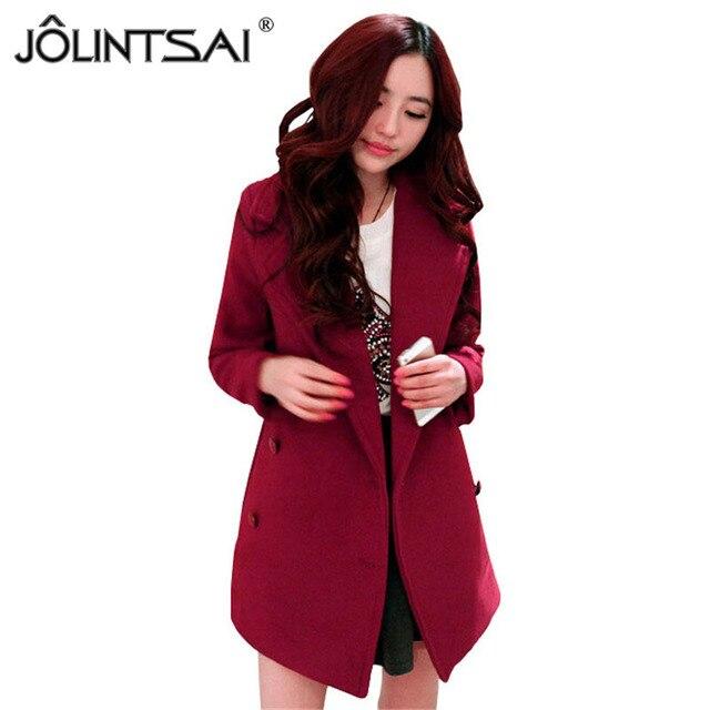 1489ba81e60 2015 Hot Sale Winter Women Coat Fashion Korean Solid Slim Wool Coat Double  Breasted Full Outwear