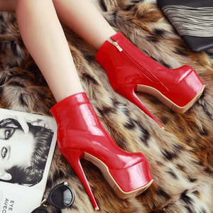 Image 5 - WETKISS Super High Heel Stiletto Ankle Boots Winter 2020 New Style Side Zip Women Platform Boots Sexy Female Rubber Shoes