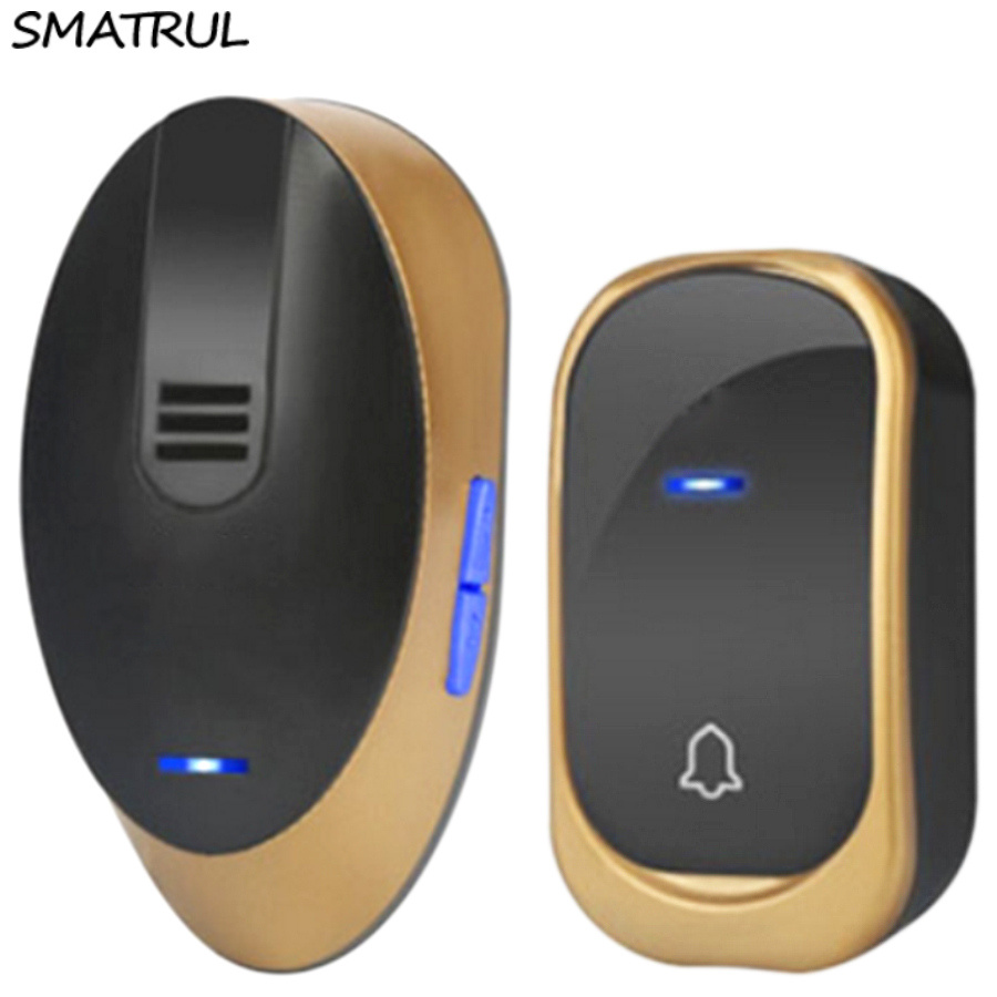 SMATRUL Wireless DoorBell Waterproof EU plug smart home Door Bell chime AC 110-220V 1 2 Transmitter 1 2 Receiver 150M long range cacazi ac 110 220v wireless doorbell 1 transmitter 6 receivers eu us uk plug 300m remote door bell 3 volume 38 rings door chime