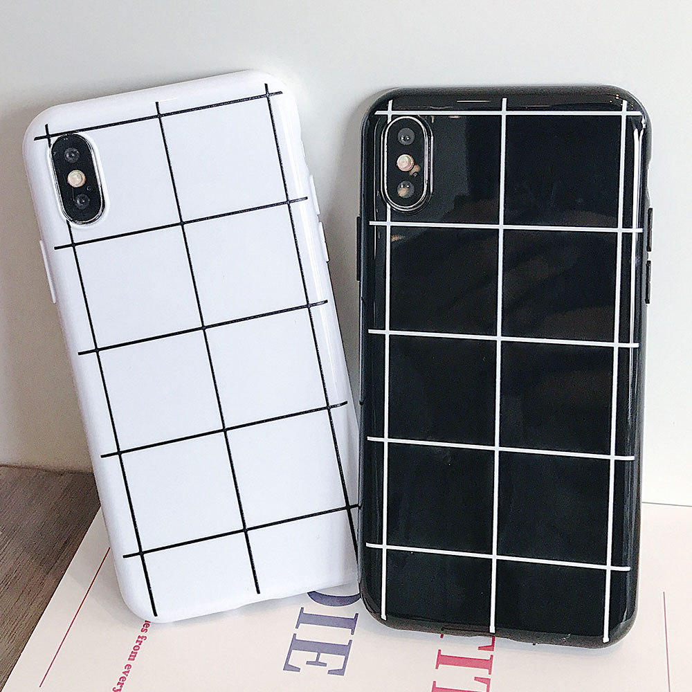 Lattice TPU Phone Case For iphone XR XS X Xs Max 7 8 Plus Cases Black White Business Cover 6s 6 Plain