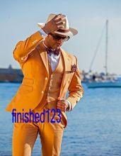 New Arrival Handsome Two Button Orange Groom Tuxedos Groomsmen Men's Wedding Prom Suits Bridegroom (Jacket+Pants+Vest+Tie) K:831