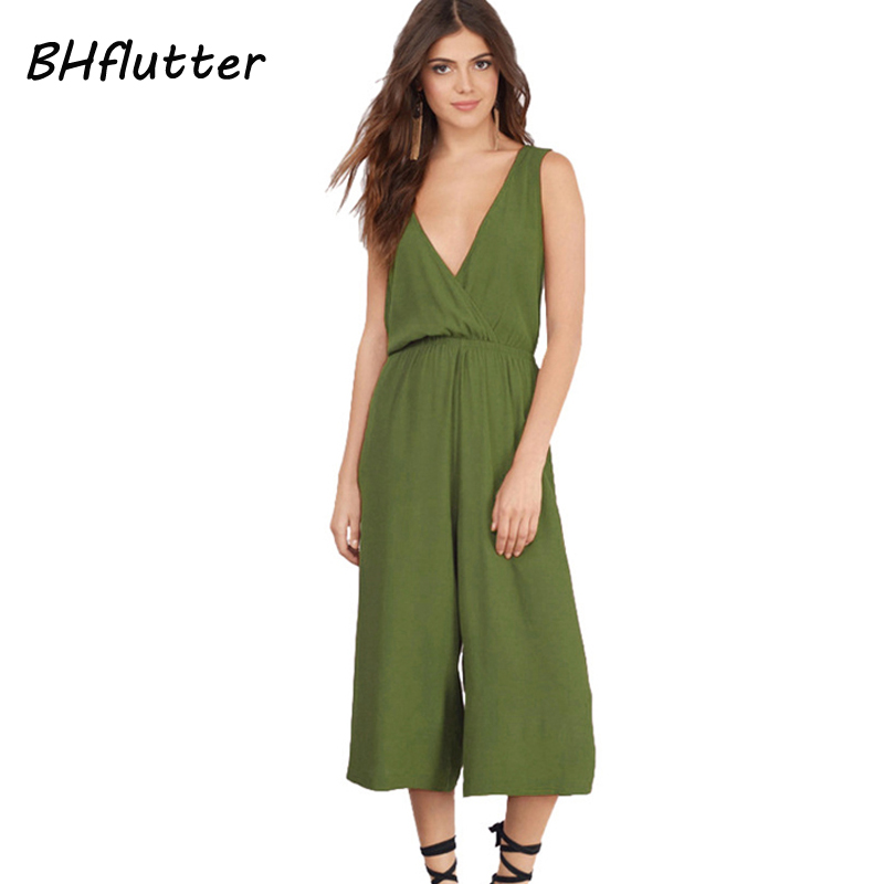 BHflutter 2017 Playsuits Women Jumpsuits Plus Size Casual Summer Overalls V neck Loose Sexy Backless Jumpsuits and Rompers