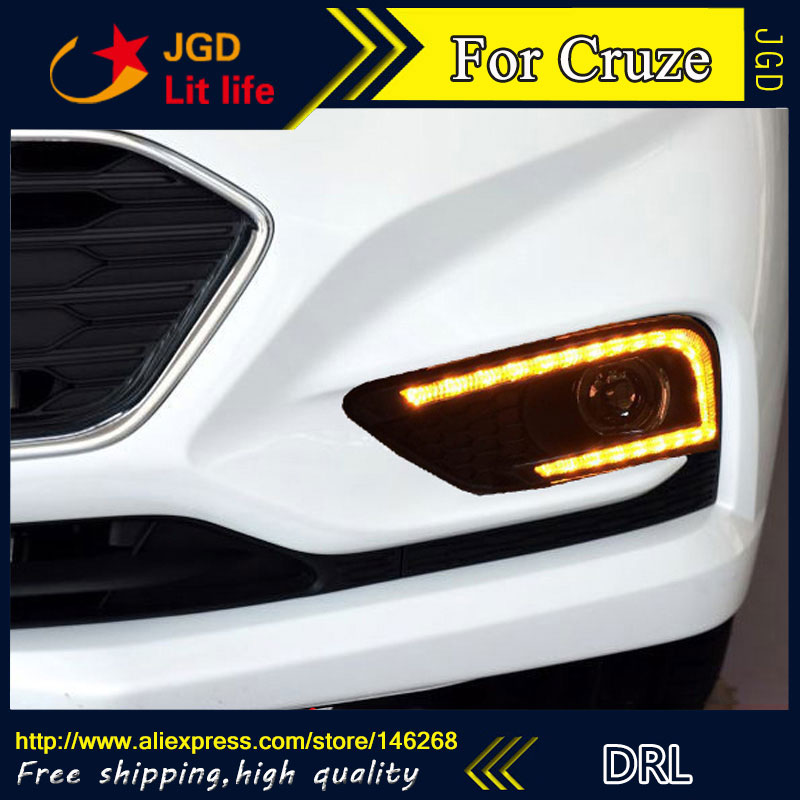 Free shipping ! 12V 6000k LED DRL Daytime running light for Chevrolet Cruze 2016 2017 fog lamp frame Fog light free shipping 2 pcs set waterproof led daytime running light drl for chevrolet cruze 2009 2012 drl fog lamp modify
