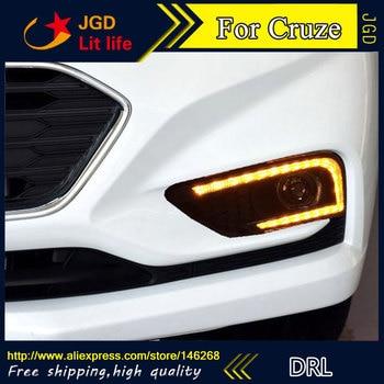 Free shipping ! 12V 6000k LED DRL Daytime running light for Chevrolet Cruze 2016 2017 fog lamp frame Fog light