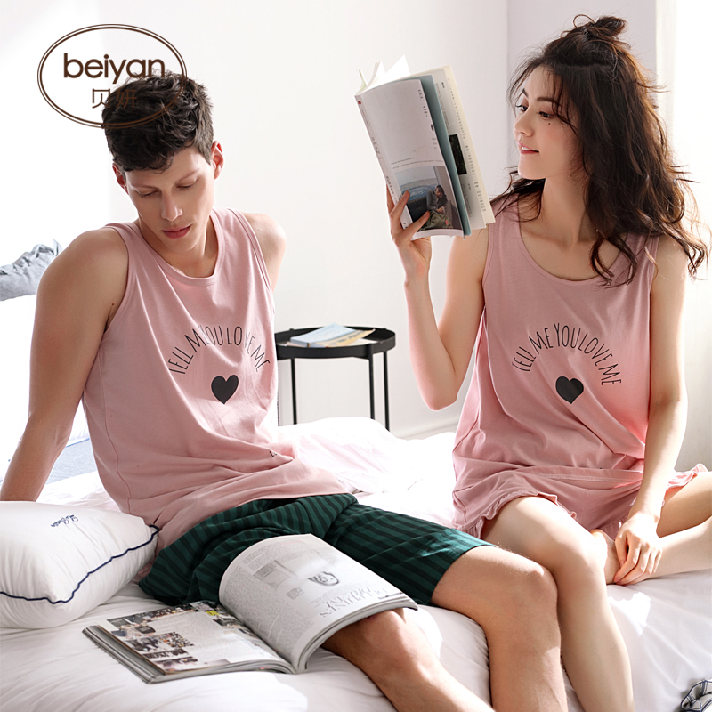 Young Lovers Pajamas Women Sleeveless Summer Pyjama Loose Men Thin Style Couple Pijama Set Sleepwear