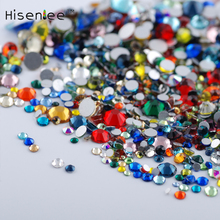 Hisenlee Nail Art Crystal Mix Sizes Mix Colors Non Hotfix Flatback Glass Rhinestones For Nails 3D Nail Art Decoration Gems(China)