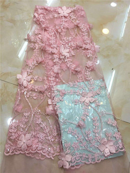 2019 Hot sales Latest African sequin fabric high quality tulle Sequins 3d lace fabric for Nigerian Christmas party Dresses Pink