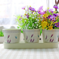 3pcs Mini Green Lavender Resin Flower Pots Home Office Decor Planter Decorative Crafts In The Bedroom Living Room