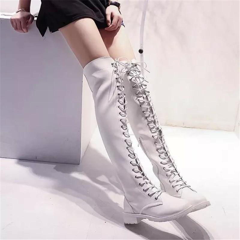 9d18028554036 Fashion 2016 Women Shoes Autumn Faux Leather Women Over knee Boots Platform  Lace Up Sexy Ladies High heels Boots Shoes-in Over-the-Knee Boots from Shoes  on ...