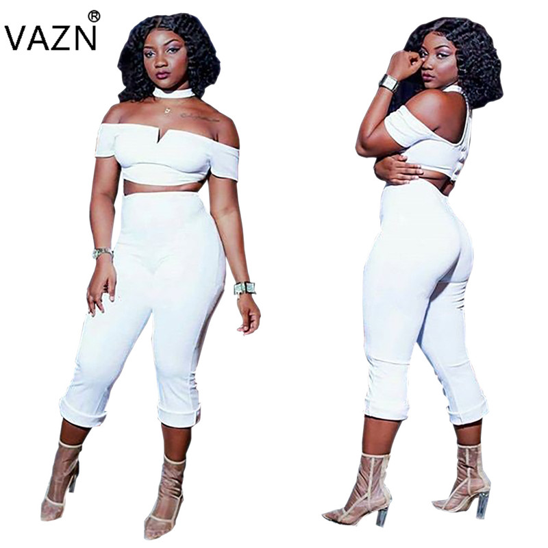 VAZN Hot Sale Sexy Night Club Designer Women 2 Piece Set Solid Slash Neck Short Sleeve Tops Calf-Length Pants Bodycon Set J5025
