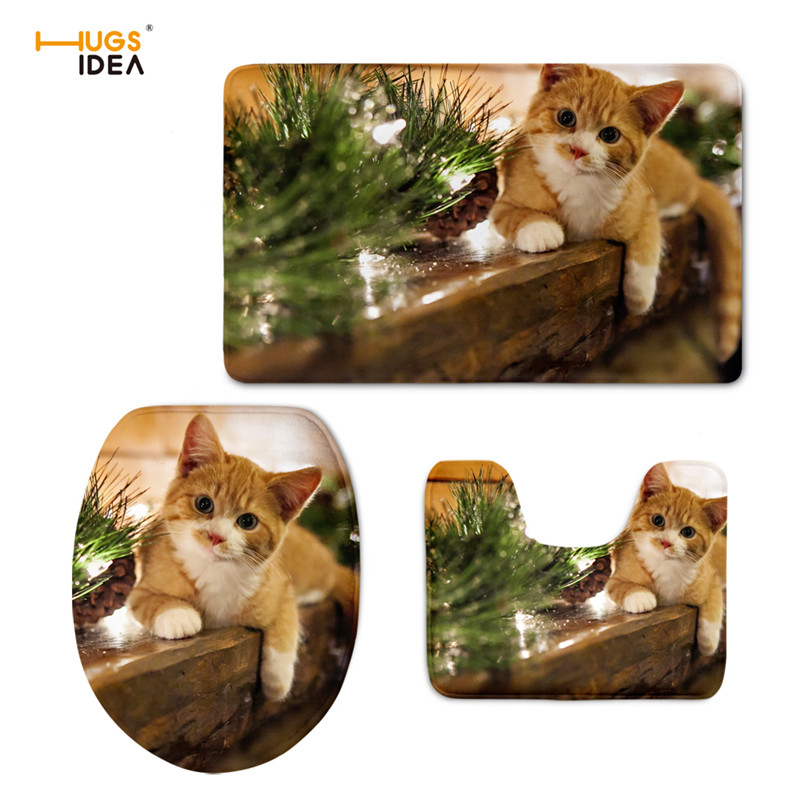 HUGSIDEA Lovely Animal Cat 3D Print Cushion Toilet Seat Mat Bathroom Decor Floral Overcoat Toilet Cases Warm Clean Washable Rugs