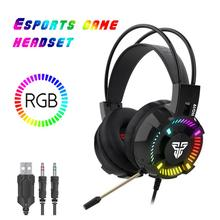 FANTECH HG19 RGB Gaming Headset Wired 3.5mm LED Stereo Deep Bass Over Ear Game Headphones with Microphone For Computer PC PS4 xiberia s21 usb gaming headphones over ear noise canceling led stereo deep bass game headsets with microphone for pc gamer