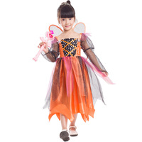 Belle Filles Citrouille Princesse Cosplay Costume Halloween Party Pumpkin Ange Preformance Spectacle Costume Avec Belle Fée Ailes