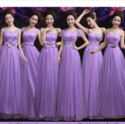 2017 Long Design Bride Sister Dresses 6 Styles Purple Bridesmaid Dress To Wedding Party Night
