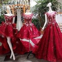 LS00161 קצר קדמי ארוך חזרה ערב שמלת תחרה עד בחזרה אפליקציות תחרה אדומה תמונות אמיתיות שמלות ערב אמא בת 2018