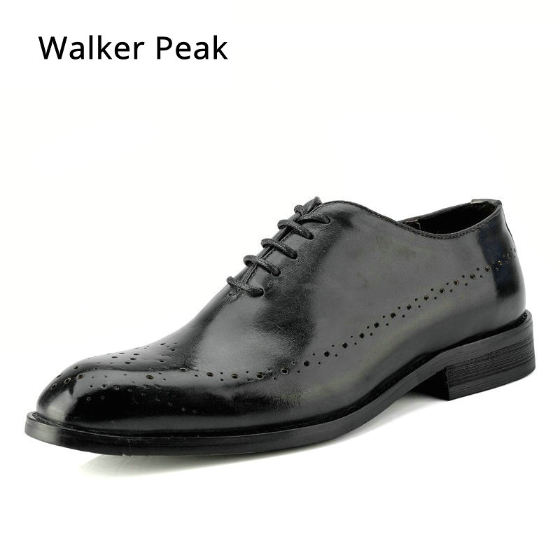 Men Business Dress Shoes Fashion Slip On Flats Genuine Leather Formal Office Loafers Party Wedding Brogue Shoes Male WalkerPeak цены онлайн
